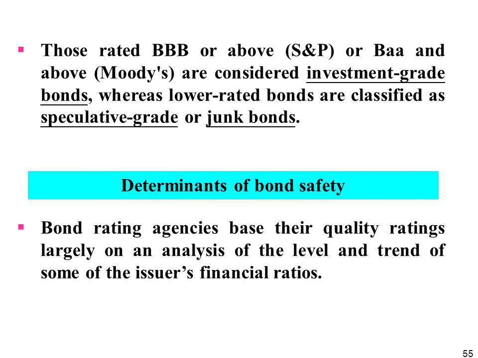 55  Those rated BBB or above (S&P) or Baa and above (Moody s) are considered investment-grade bonds, whereas lower-rated bonds are classified as speculative-grade or junk bonds.