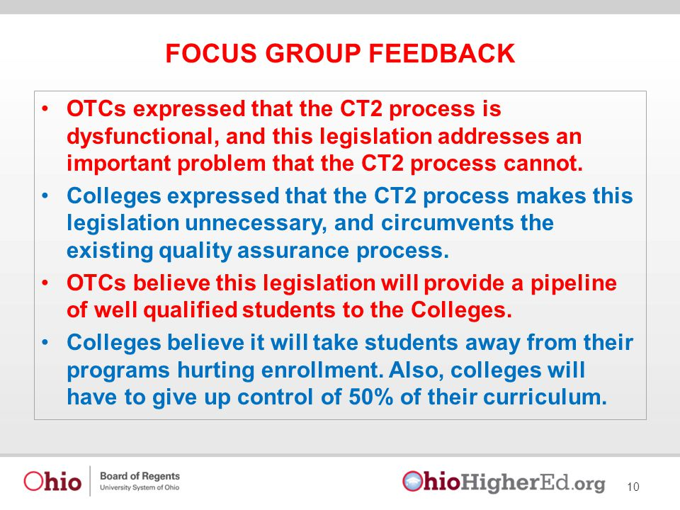FOCUS GROUP FEEDBACK OTCs expressed that the CT2 process is dysfunctional, and this legislation addresses an important problem that the CT2 process cannot.