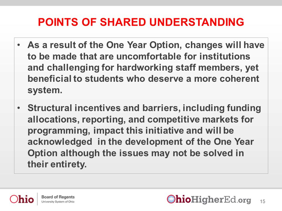 POINTS OF SHARED UNDERSTANDING As a result of the One Year Option, changes will have to be made that are uncomfortable for institutions and challenging for hardworking staff members, yet beneficial to students who deserve a more coherent system.