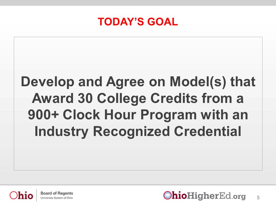 TODAY'S GOAL Develop and Agree on Model(s) that Award 30 College Credits from a 900+ Clock Hour Program with an Industry Recognized Credential 5