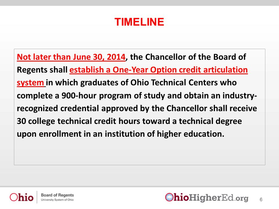 TIMELINE 6 Not later than June 30, 2014, the Chancellor of the Board of Regents shall establish a One-Year Option credit articulation system in which graduates of Ohio Technical Centers who complete a 900-hour program of study and obtain an industry- recognized credential approved by the Chancellor shall receive 30 college technical credit hours toward a technical degree upon enrollment in an institution of higher education.