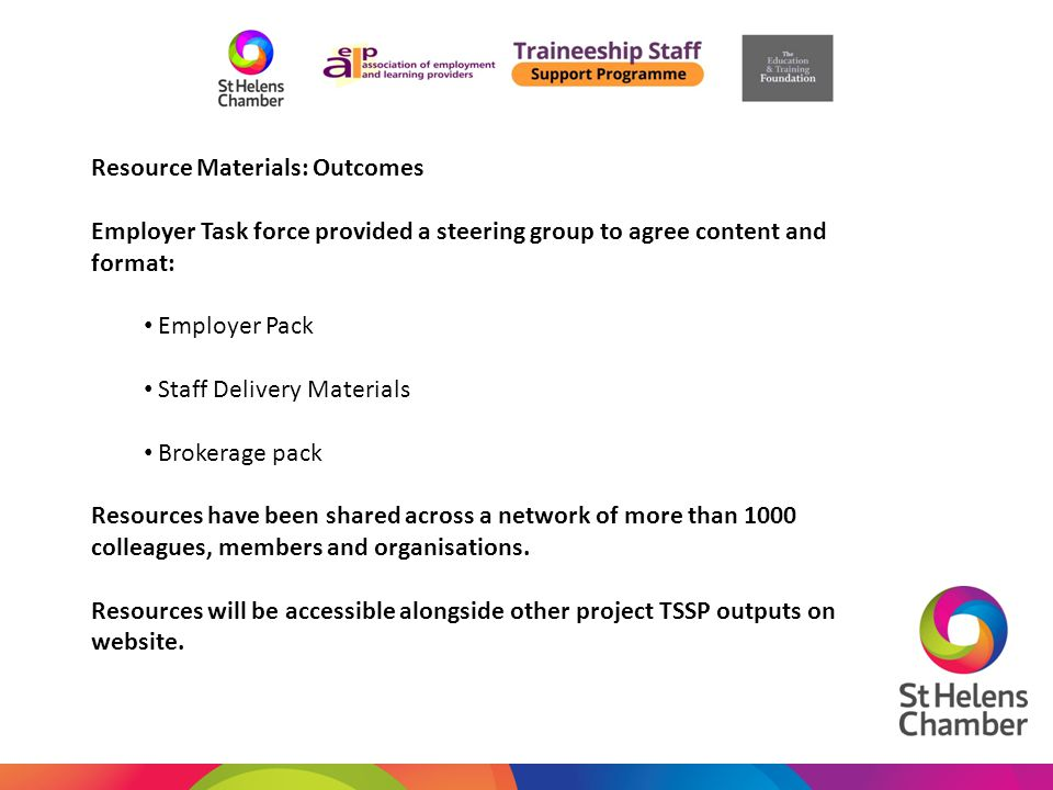 Resource Materials: Outcomes Employer Task force provided a steering group to agree content and format: Employer Pack Staff Delivery Materials Brokera