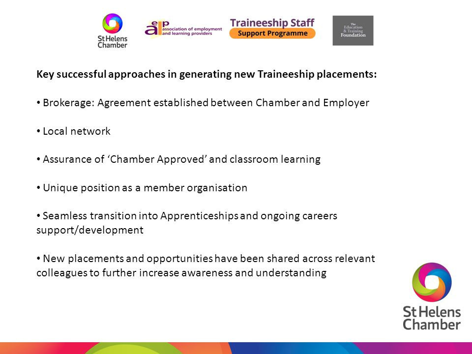 Key successful approaches in generating new Traineeship placements: Brokerage: Agreement established between Chamber and Employer Local network Assurance of 'Chamber Approved' and classroom learning Unique position as a member organisation Seamless transition into Apprenticeships and ongoing careers support/development New placements and opportunities have been shared across relevant colleagues to further increase awareness and understanding