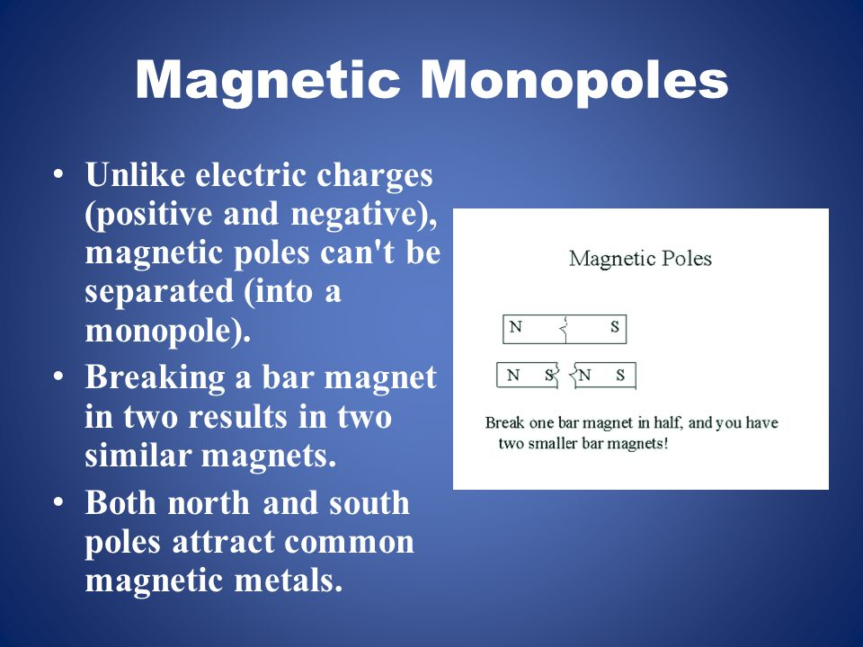 Magnetic Monopoles Unlike electric charges (positive and negative), magnetic poles can t be separated (into a monopole).