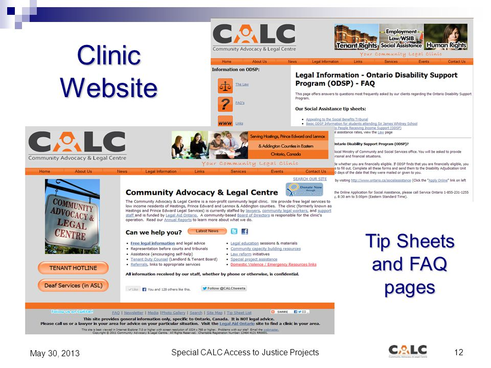 Special CALC Access to Justice Projects12 May 30, 2013 Clinic Website Tip Sheets and FAQ pages