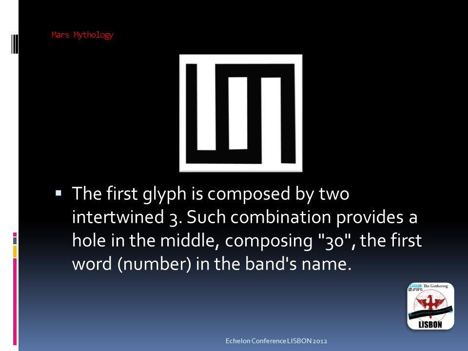 Mars Mythology  The first glyph is composed by two intertwined 3.
