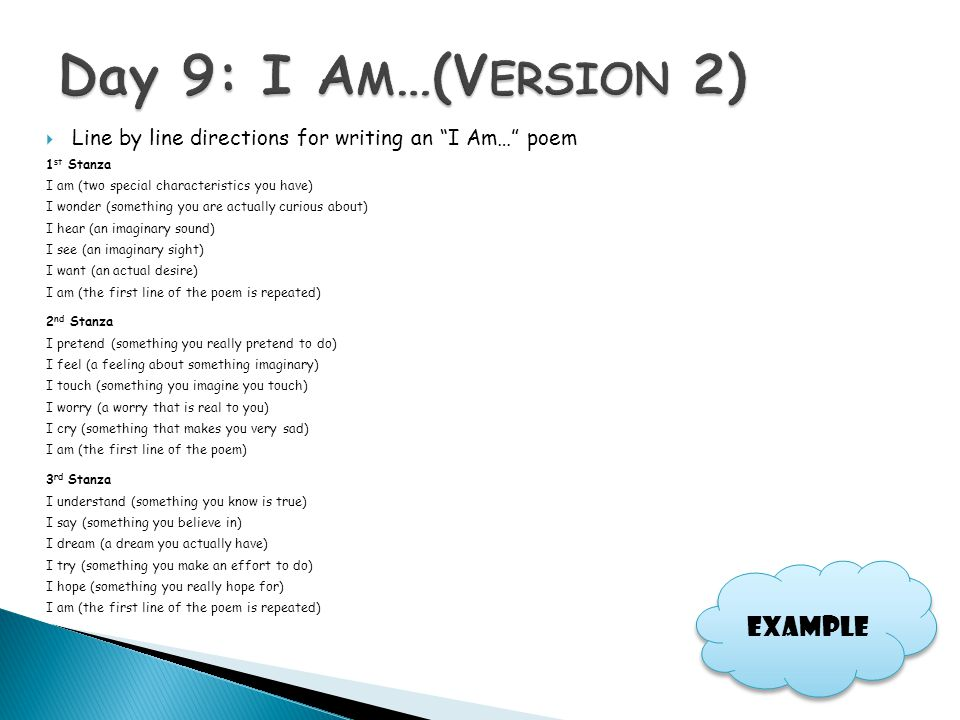 """ Line by line directions for writing an """"I Am…"""" poem 1 st Stanza I am (two special characteristics you have) I wonder (something you are actually cur"""