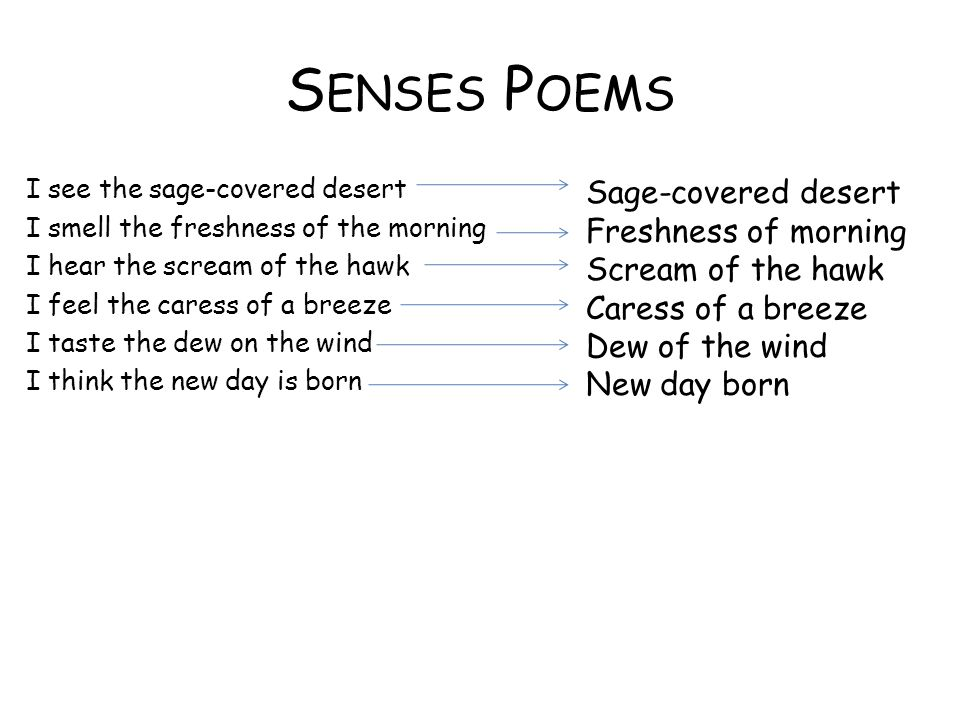 S ENSES P OEMS I see the sage-covered desert I smell the freshness of the morning I hear the scream of the hawk I feel the caress of a breeze I taste