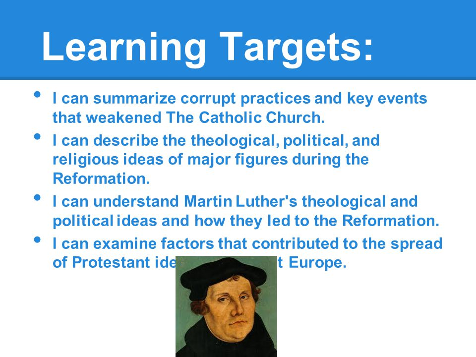 30.1 Introduction The Reformation was a religious reform movement from the early 1500s to the 1600s that led to the formation of new Christian groups.