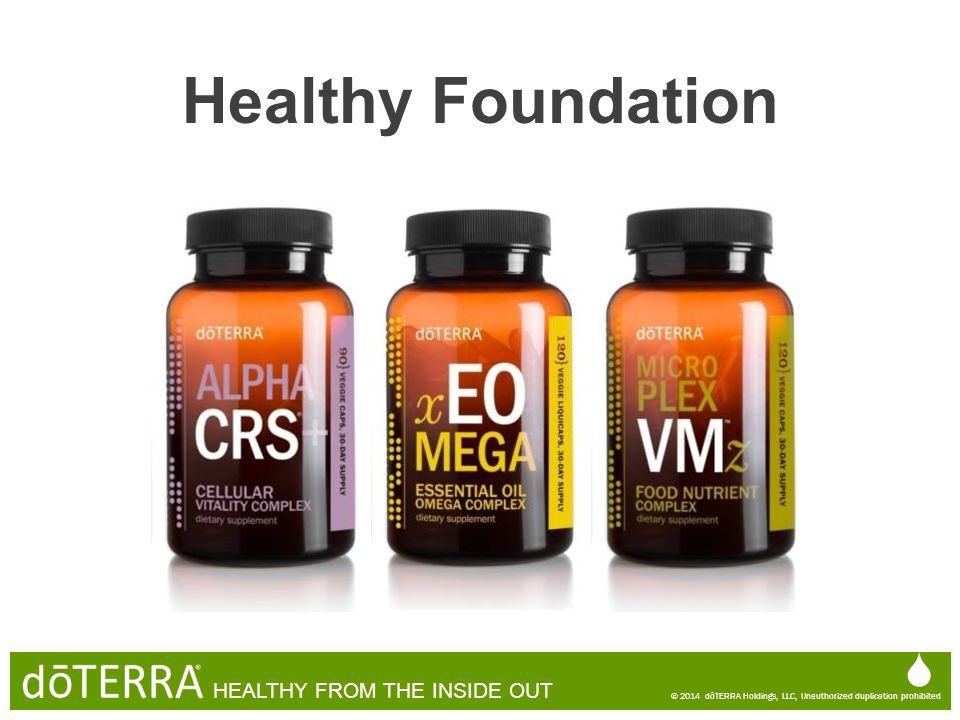  © 2014 dōTERRA Holdings, LLC, Unauthorized duplication prohibited HEALTHY FROM THE INSIDE OUT  © 2014 dōTERRA Holdings, LLC, Unauthorized duplicati
