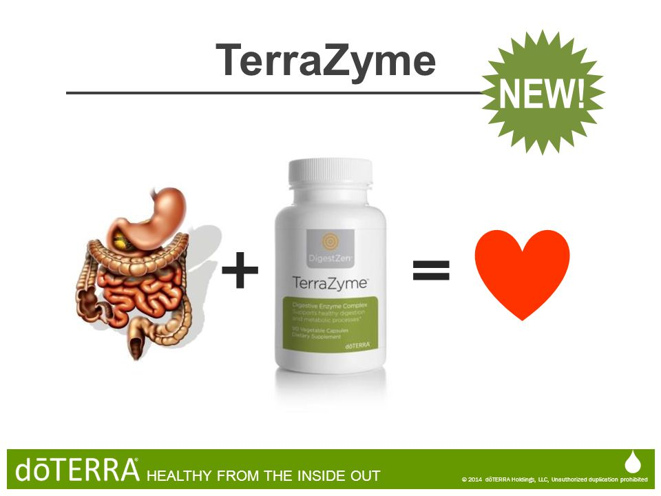  © 2014 dōTERRA Holdings, LLC, Unauthorized duplication prohibited HEALTHY FROM THE INSIDE OUT TerraZyme NEW! = +