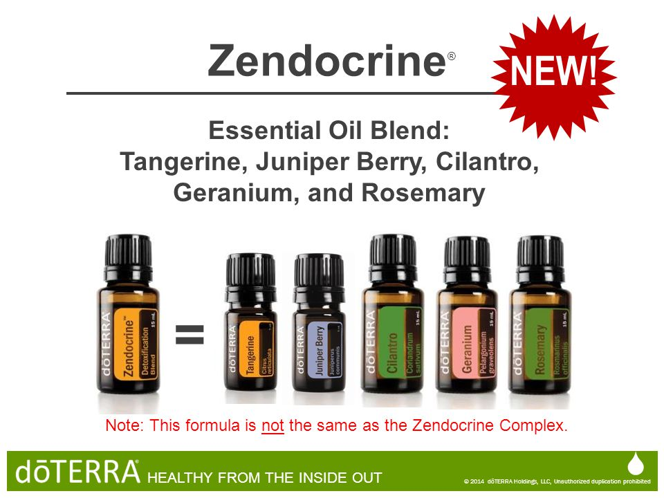  © 2014 dōTERRA Holdings, LLC, Unauthorized duplication prohibited HEALTHY FROM THE INSIDE OUT Zendocrine ® Essential Oil Blend: Tangerine, Juniper B