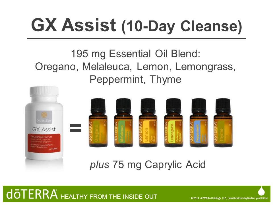 GX Assist (10-Day Cleanse)  © 2014 dōTERRA Holdings, LLC, Unauthorized duplication prohibited HEALTHY FROM THE INSIDE OUT  © 2014 dōTERRA Holdings,