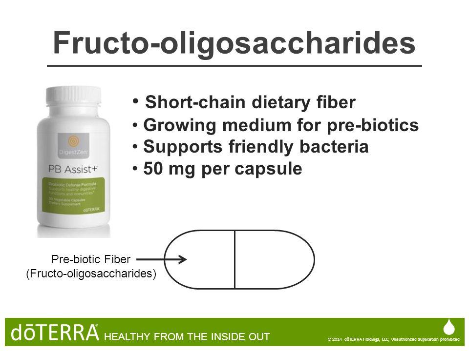 Short-chain dietary fiber Growing medium for pre-biotics Supports friendly bacteria 50 mg per capsule Pre-biotic Fiber (Fructo-oligosaccharides)  © 2
