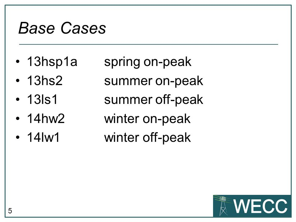 5 13hsp1aspring on-peak 13hs2summer on-peak 13ls1summer off-peak 14hw2winter on-peak 14lw1winter off-peak Base Cases