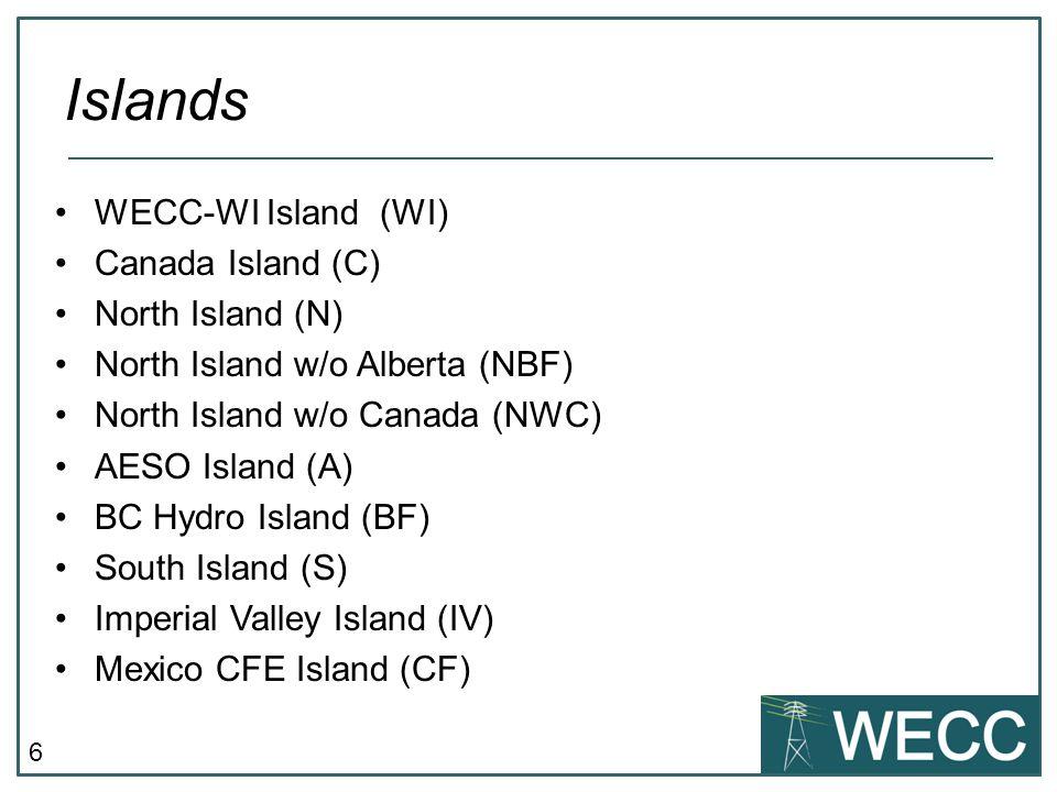6 WECC-WI Island (WI) Canada Island (C) North Island (N) North Island w/o Alberta (NBF) North Island w/o Canada (NWC) AESO Island (A) BC Hydro Island