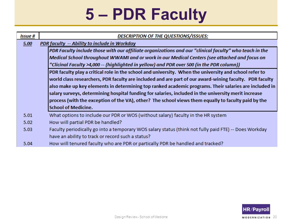 5 – PDR Faculty 20Design Review - School of Medicine