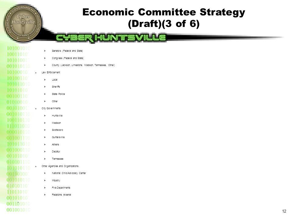 Economic Committee Strategy (Draft)(3 of 6) 12  Senators (Federal and State)  Congress (Federal and State)  County (Jackson, Limestone, Madison, Te