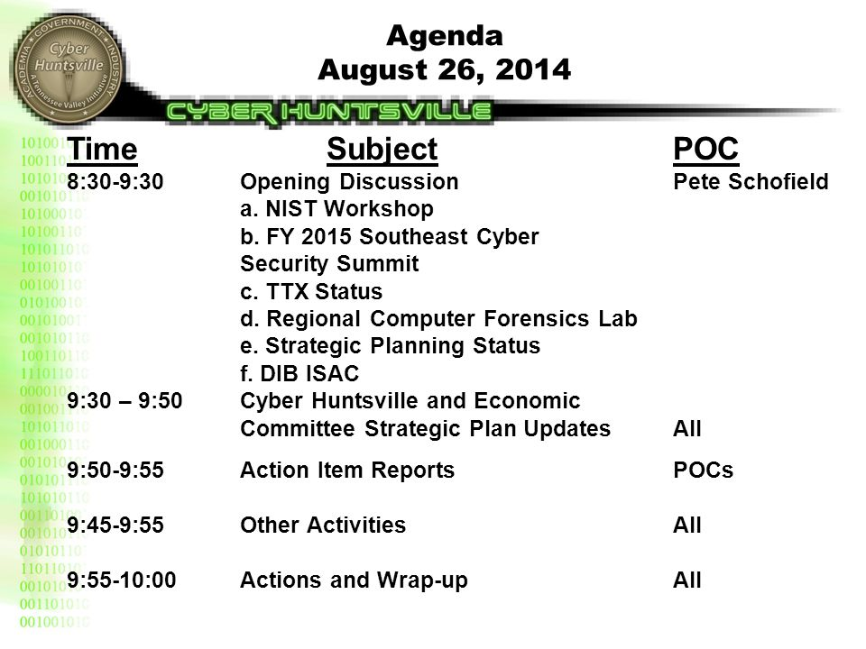 Agenda August 26, 2014 TimeSubjectPOC 8:30-9:30Opening DiscussionPete Schofield a. NIST Workshop b. FY 2015 Southeast Cyber Security Summit c. TTX Sta