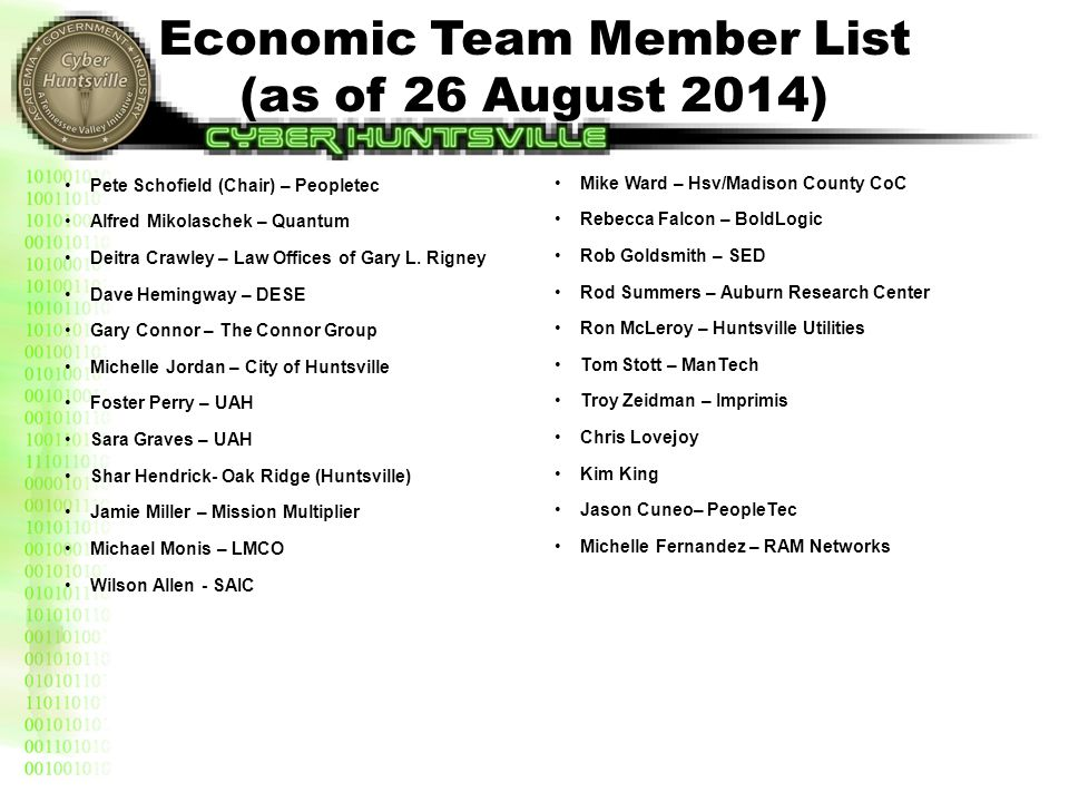 Economic Team Member List (as of 26 August 2014) Pete Schofield (Chair) – Peopletec Alfred Mikolaschek – Quantum Deitra Crawley – Law Offices of Gary
