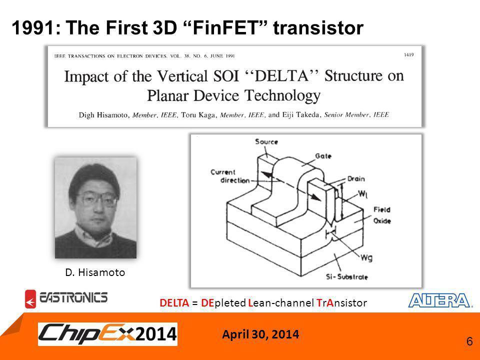 """April 30, 2014 6 1991: The First 3D """"FinFET"""" transistor DELTA = DEpleted Lean-channel TrAnsistor D. Hisamoto"""