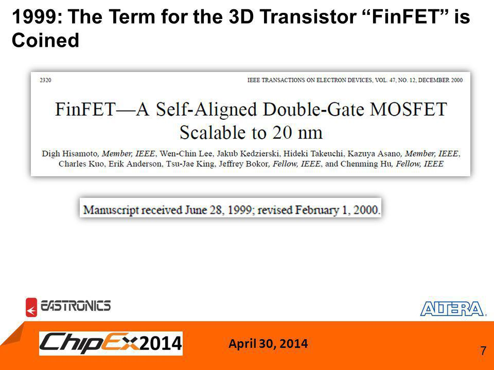 April 30, 2014 7 1999: The Term for the 3D Transistor FinFET is Coined