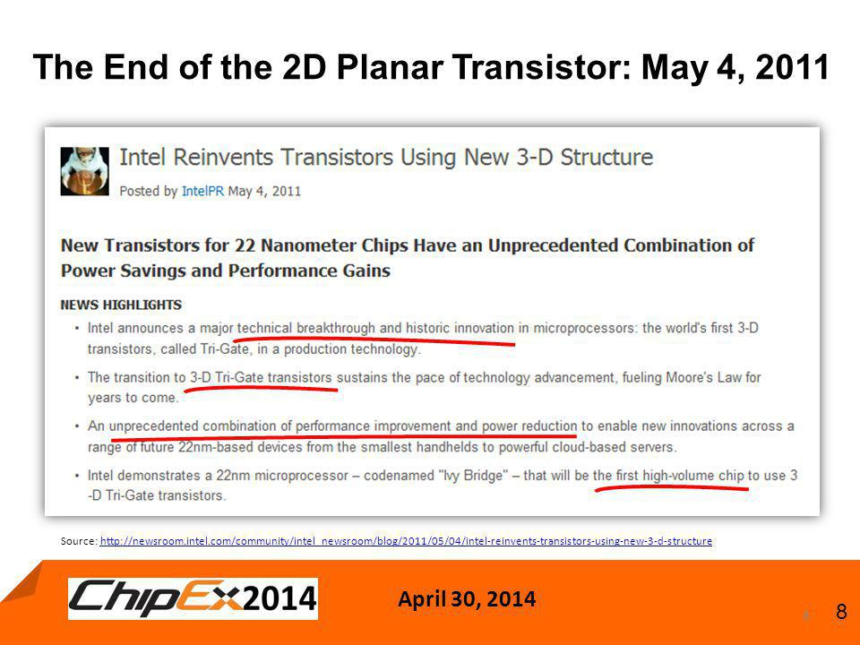 April 30, 2014 8 The End of the 2D Planar Transistor: May 4, 2011 8 Source: http://newsroom.intel.com/community/intel_newsroom/blog/2011/05/04/intel-reinvents-transistors-using-new-3-d-structurehttp://newsroom.intel.com/community/intel_newsroom/blog/2011/05/04/intel-reinvents-transistors-using-new-3-d-structure