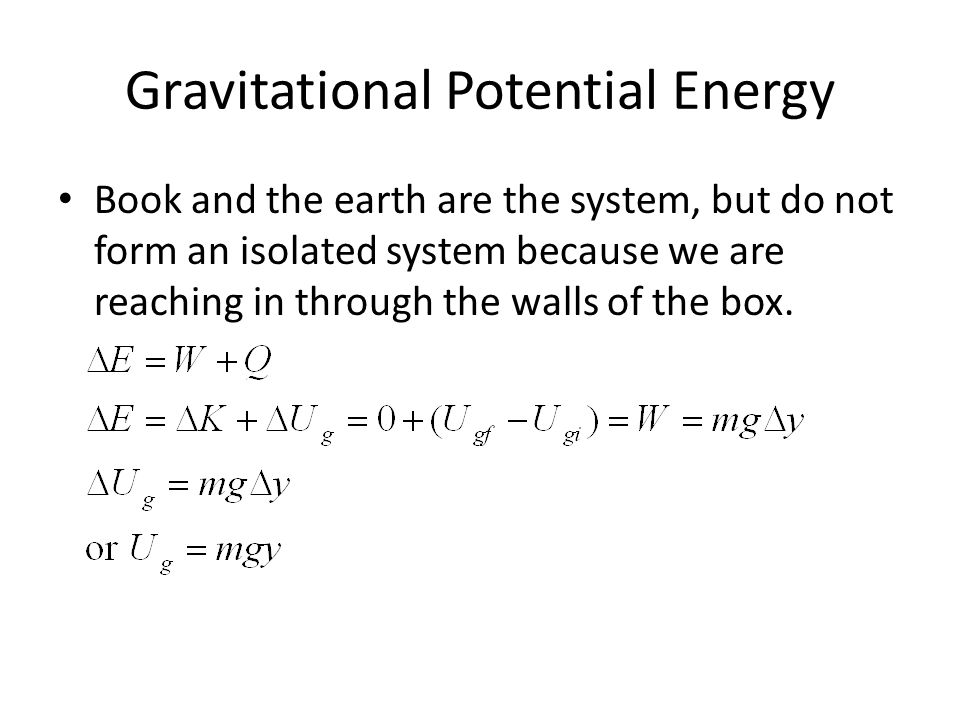 Gravitational Potential Energy Book and the earth are the system, but do not form an isolated system because we are reaching in through the walls of t