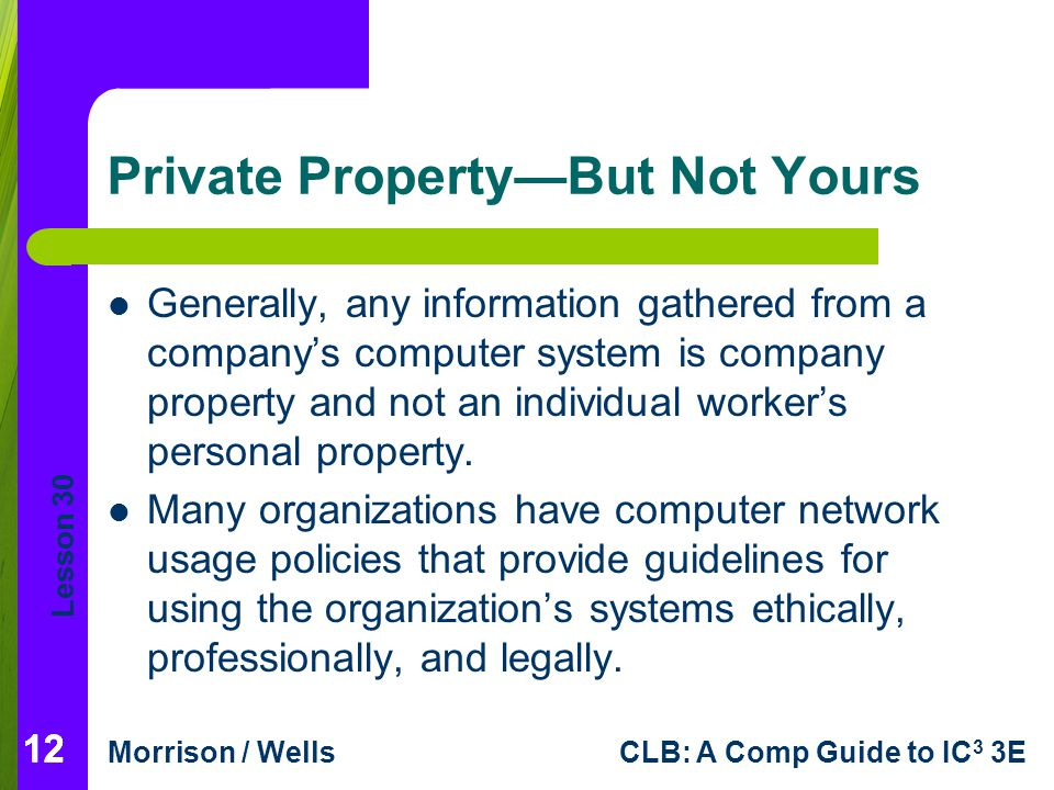 Lesson 30 Morrison / WellsCLB: A Comp Guide to IC 3 3E Private Property—But Not Yours Generally, any information gathered from a company's computer sy