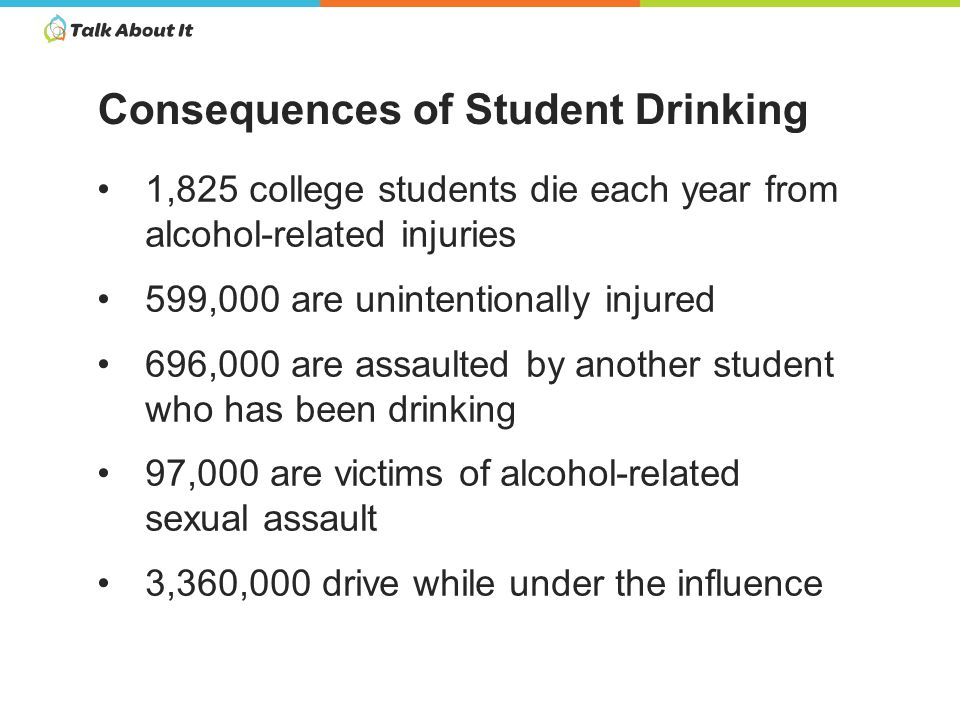 1,825 college students die each year from alcohol-related injuries 599,000 are unintentionally injured 696,000 are assaulted by another student who has been drinking 97,000 are victims of alcohol-related sexual assault 3,360,000 drive while under the influence Consequences of Student Drinking
