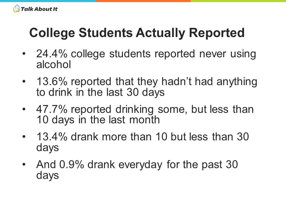 24.4% college students reported never using alcohol 13.6% reported that they hadn't had anything to drink in the last 30 days 47.7% reported drinking some, but less than 10 days in the last month 13.4% drank more than 10 but less than 30 days And 0.9% drank everyday for the past 30 days College Students Actually Reported