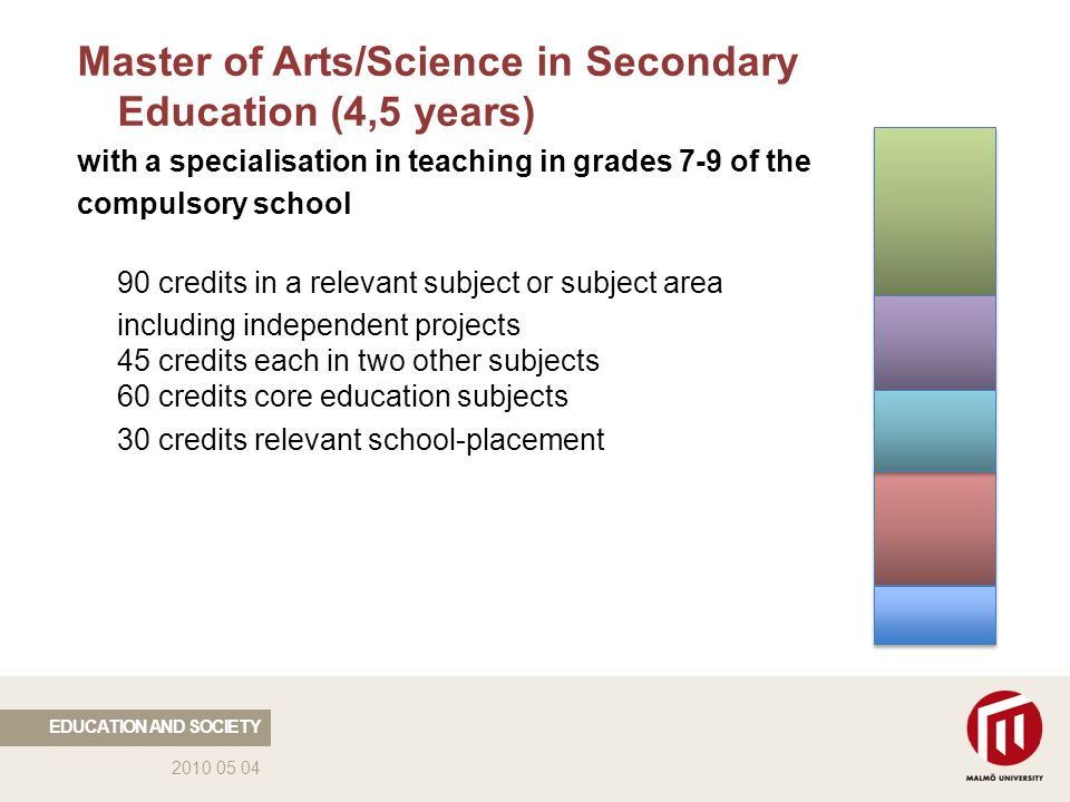 2010 05 04 Master of Arts/Science in Secondary Education (4,5 years) with a specialisation in teaching in grades 7-9 of the compulsory school 90 credits in a relevant subject or subject area including independent projects 45 credits each in two other subjects 60 credits core education subjects 30 credits relevant school-placement EDUCATION AND SOCIETY