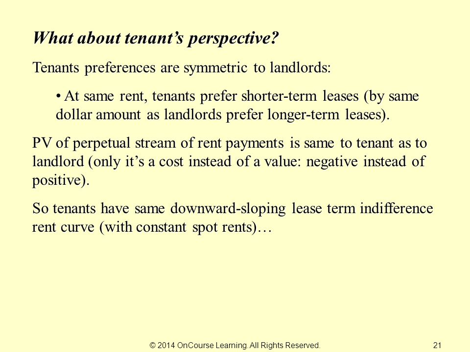© 2014 OnCourse Learning. All Rights Reserved. What about tenant's perspective.