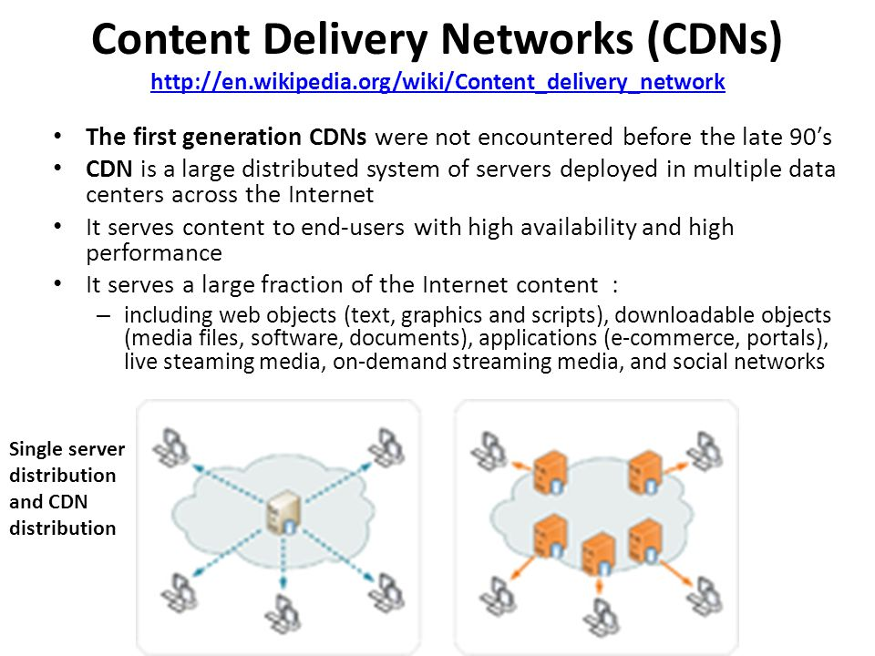 Notable Content Delivery Service Providers http://en.wikipedia.org/wiki/Content_delivery_network http://en.wikipedia.org/wiki/Content_delivery_network Free CDNs [edit]edit BootstrapCDN CloudFlare Coral Content Distribution Network Incapsula (free version with Incapsula advertisement) Incapsula Traditional commercial CDNs [edit]edit Akamai Technologies Amazon CloudFront Aryaka Windows Azure CDN CacheFly CDNetworks ChinaCache Cotendo (acquired by Akamai) Cotendo Distil Networks EdgeCast Networks Highwinds Network Group HP Cloud Services Incapsula Internap LeaseWeb Level 3 Communications Limelight Networks MaxCDN MegaFon MetaCDN Mirror Image Internet NACEVI OnApp OVH Rackspace Cloud Files Speedera Networks (acquired by Akamai) Speedera Networks StreamZilla CDN Europe Telco CDNs [edit]edit AT&T Inc.
