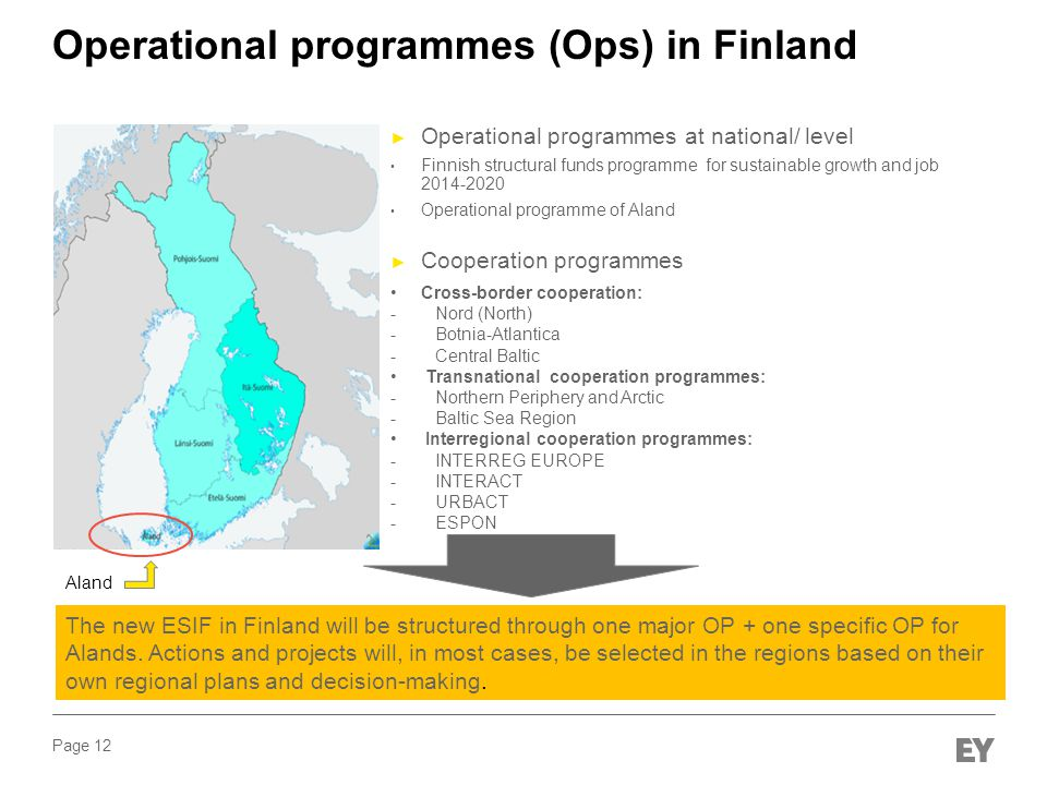 Page 12 Operational programmes (Ops) in Finland ► Operational programmes at national/ level Finnish structural funds programme for sustainable growth and job 2014-2020 Operational programme of Aland ► Cooperation programmes Cross-border cooperation: - Nord (North) - Botnia-Atlantica - Central Baltic Transnational cooperation programmes: - Northern Periphery and Arctic - Baltic Sea Region Interregional cooperation programmes: - INTERREG EUROPE - INTERACT - URBACT - ESPON The new ESIF in Finland will be structured through one major OP + one specific OP for Alands.