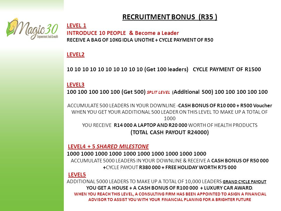 RECRUITMENT BONUS (R35 ) LEVEL 1 INTRODUCE 10 PEOPLE & Become a Leader RECEIVE A BAG OF 10KG IDLA UNOTHE + CYCLE PAYMENT OF R50 LEVEL2 10 10 10 10 10