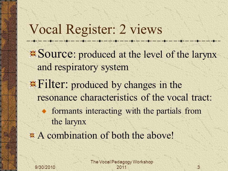 Filter Partials interacting with formants: Don Miller – 'Register Violation' 2 nd partial in F1 The Vocal Pedagogy Workshop 20119/30/201034