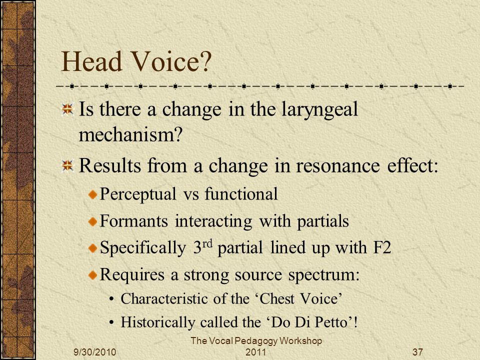 Head Voice. Is there a change in the laryngeal mechanism.