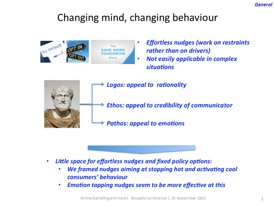 3 Online Gambling and more| Brussels Conference | 30 September 2013 Changing mind, changing behaviour General