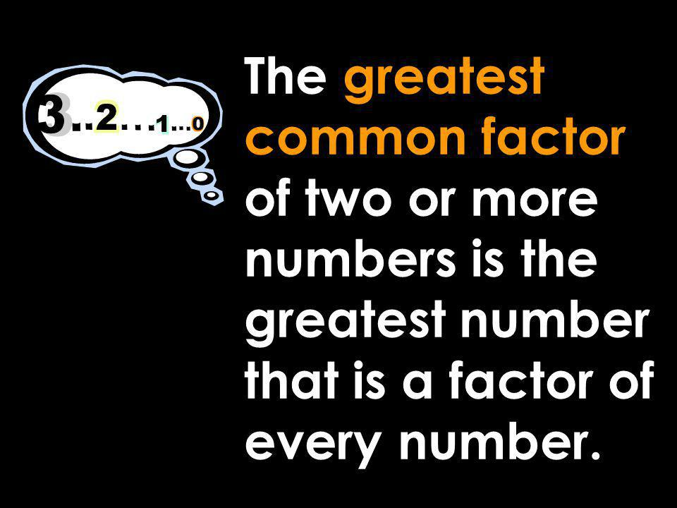 The greatest common factor of two or more numbers is the greatest number that is a factor of every number.