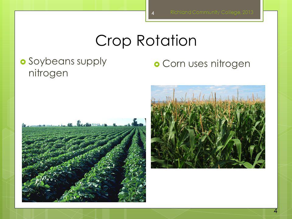 Crop Rotation  Soybeans supply nitrogen  Corn uses nitrogen Richland Community College, 2013 4 4