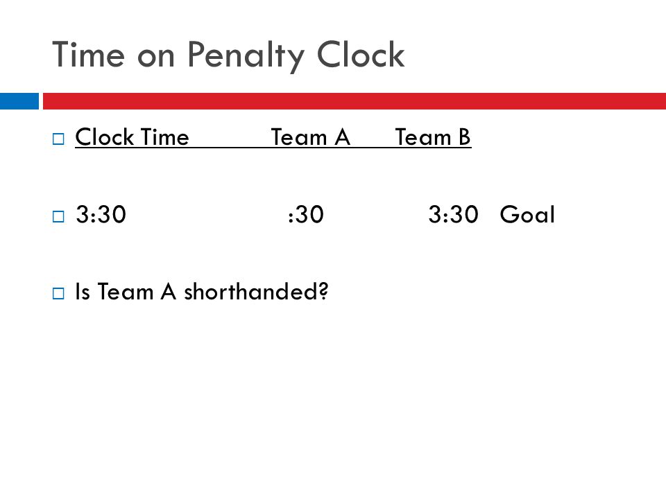 Time on Penalty Clock  Clock Time Team A Team B  3:30 :30 3:30 Goal  Is Team A shorthanded?