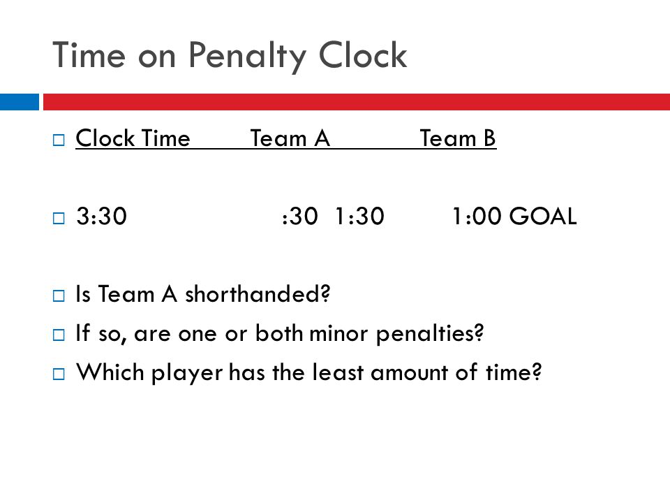 Time on Penalty Clock  Clock Time Team A Team B  3:30 :30 1:30 1:00 GOAL  Is Team A shorthanded?  If so, are one or both minor penalties?  Which