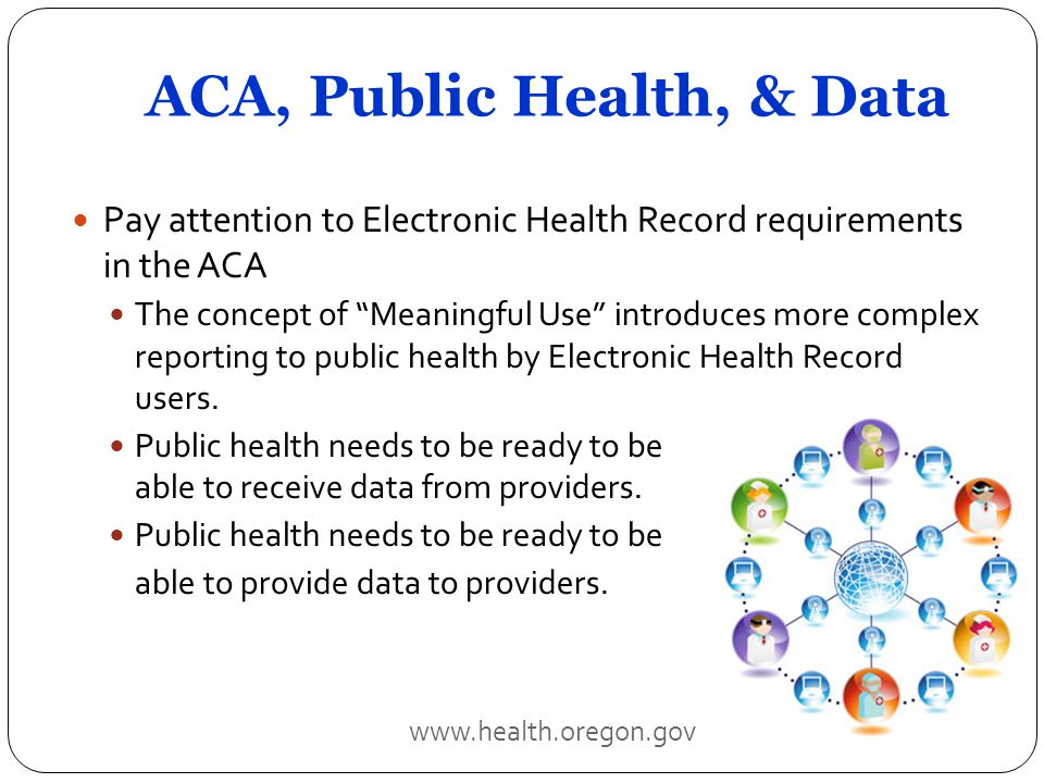 ACA, Public Health, & Data Pay attention to Electronic Health Record requirements in the ACA The concept of Meaningful Use introduces more complex reporting to public health by Electronic Health Record users.