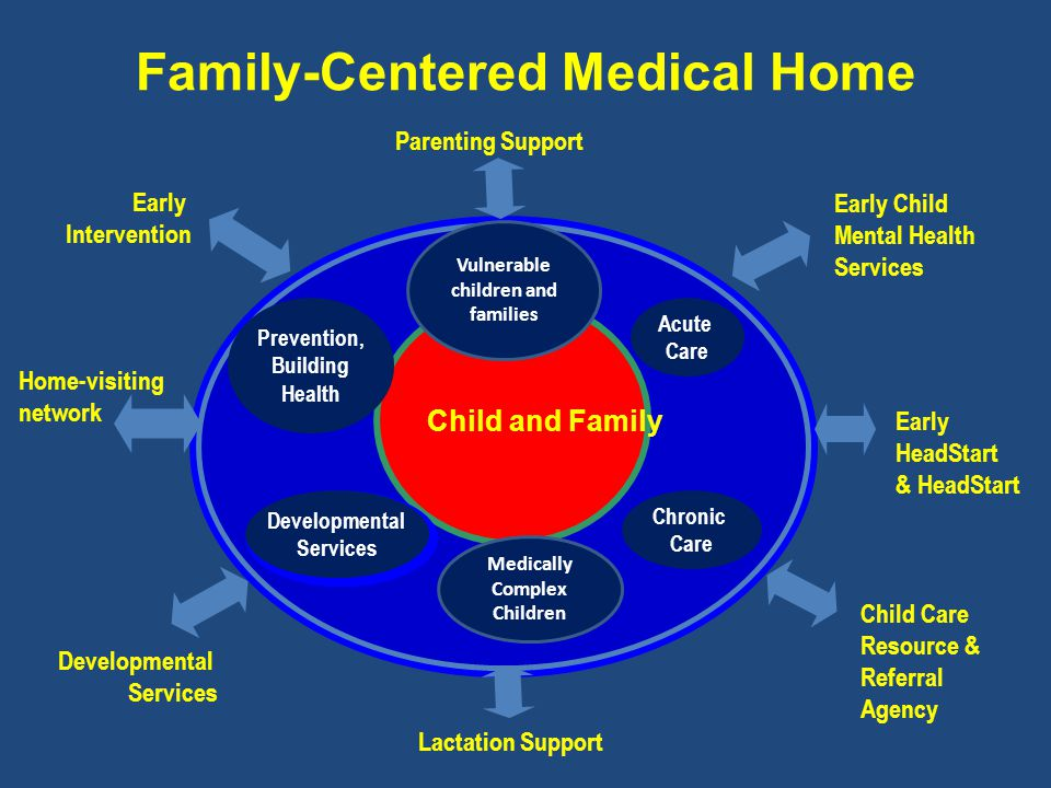 Family-Centered Medical Home Child and Family Developmental Services Home-visiting network Early Intervention Child Care Resource & Referral Agency Early HeadStart & HeadStart Early Child Mental Health Services Prevention, Building Health Acute Care Chronic Care Developmental Services Parenting Support Lactation Support Vulnerable children and families Medically Complex Children