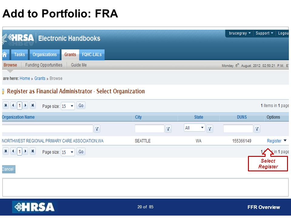 21 of 85 Add to Portfolio: FRA Enter PMS Account and PIN Check Certification Box Select Continue FFR Overview