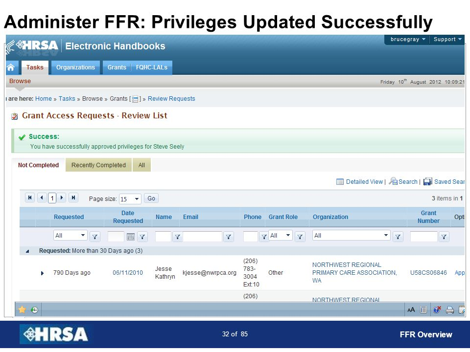 33 of 85 Accessing FFR: Grant Portfolio Select the Grants Tab FFR Overview