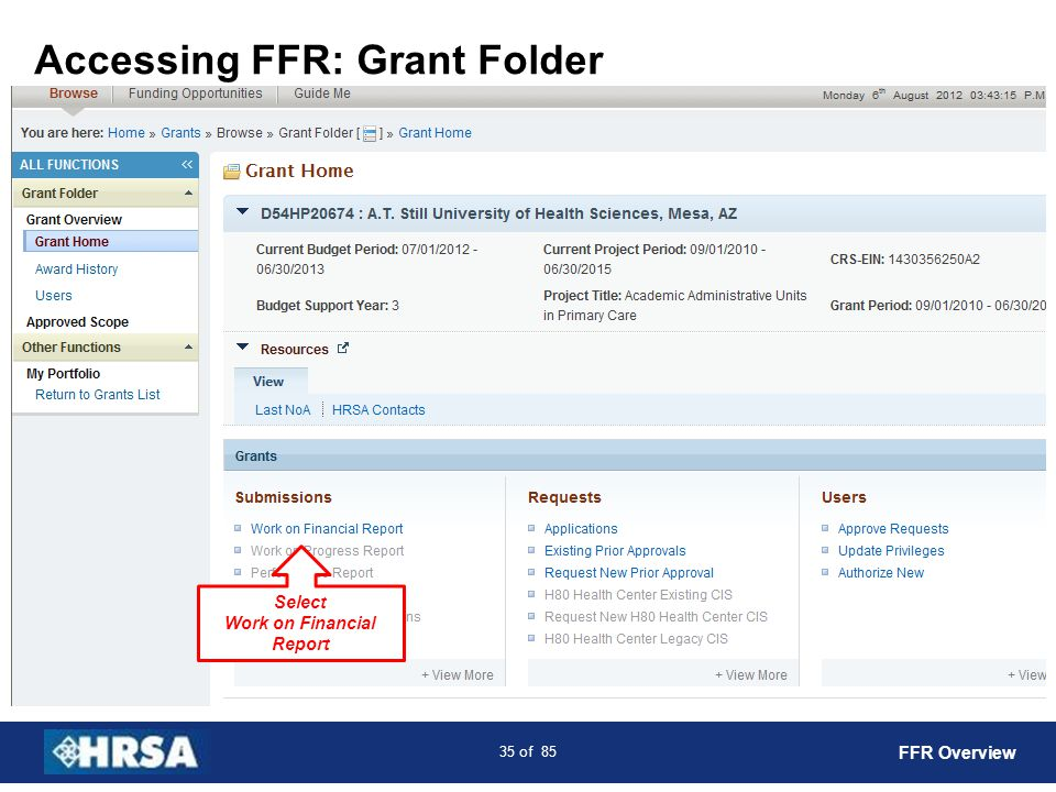 36 of 85 Submissions: FFR FFR Overview