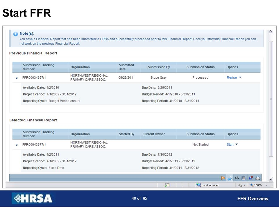 41 of 85 FFR Status Page Use the side menu to jump to any section of the report FFR Overview