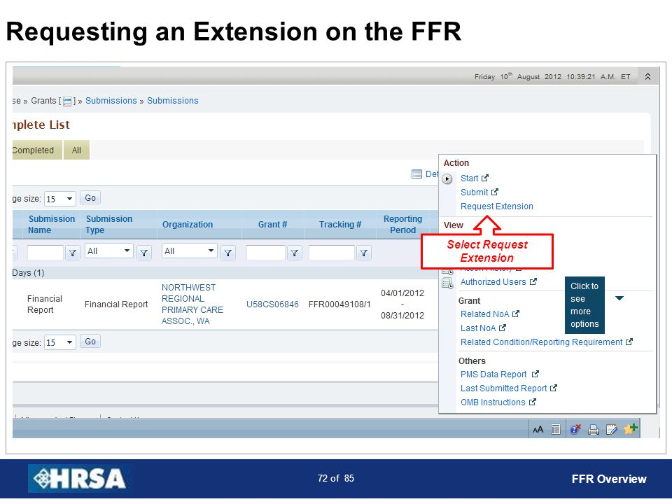 73 of 85 Requesting an Extension on the FFR Select Submit to HRSA FFR Overview